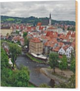 A View Overlooking The Vltava River And Cesky Krumlov In The Czech Republic Wood Print