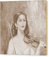 A Violin Girl Wood Print