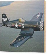 A Vought F4u-5 Corsair In Flight Wood Print by Scott Germain