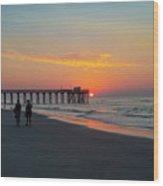 A Walk At Sunrise - Avalon New Jersey Wood Print