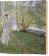 A Walk By The River Wood Print