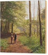 A Walk In The Forest Wood Print by Niels Christian Hansen