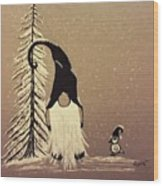 A Walk In The Snow Wood Print by Ginny Youngblood