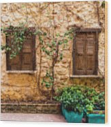 A Wall In Chania Wood Print