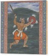 A Warrior Brandishing A Sword Wood Print