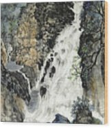A Waterfall In Quebec Wood Print
