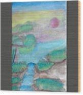 A Waterfall In Val Rennikh Wood Print