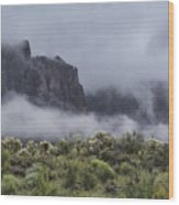 A Wave Of Fog On The Superstitions  Wood Print