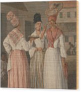 A West Indian Flower Girl And Two Other Free Women Of Color Wood Print