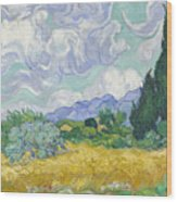 A Wheat Field, With Cypresses Wood Print