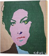 A J Winehouse Wood Print