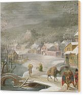 A Winter Landscape With Travellers On A Path Wood Print