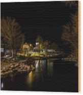 A Winter's River Wood Print