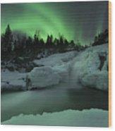 A Wintery Waterfall And Aurora Borealis Wood Print