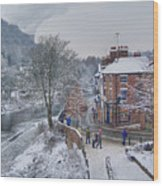 A Wintry Street Scene In Ironbridge Gorge England Wood Print