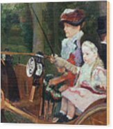 A Woman And Child In The Driving Seat Wood Print by Mary Stevenson Cassatt
