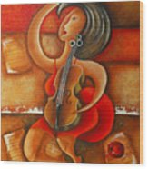 A Woman And Her Violin Wood Print