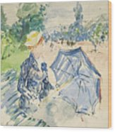 A Woman Seated At A Bench On The Avenue Du Bois Wood Print