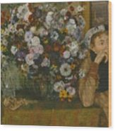 A Woman Seated Beside A Vase Of Flowers Wood Print