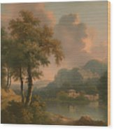 A Wooded Hilly Landscape Wood Print