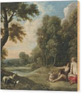 A Wooded Landscape With Venus Adonis And Cupid Wood Print