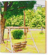 A Wooden Swing Under The Tree Wood Print