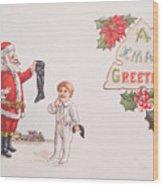 A Xmas Greetings With Santa And Child Vintage Card Wood Print