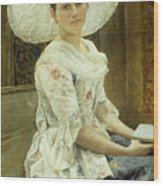 A Young Beauty In A White Hat  Wood Print