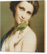 A Young Beauty With A Parakeet Wood Print