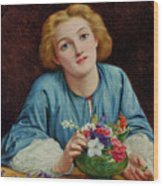 A Young Girl Arranging A Bouquet Wood Print