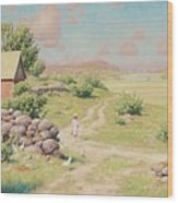 A Young Girl In Summer Landscape Wood Print