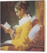 A Young Girl Reading Wood Print