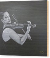 A Young Lady Playing A Violin Wood Print