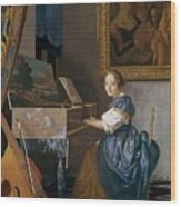 A Young Lady Seated At A Virginal Wood Print