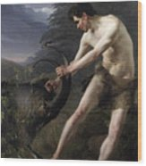 A Young Man Fighting A Goat Wood Print