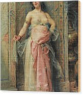A Young Oriental Girl With A Perfume Burner Wood Print
