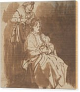 A Young Woman Having Her Hair Braided Wood Print