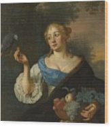 A Young Woman With A Parrot, Ary De Vois, 1660 - 1680 Wood Print