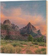 A Zion Sunset Wood Print