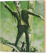 A Zombie In Herne Bay Wood Print by Paul Mitchell