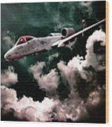 A10 Thunderbolt In Flight Wood Print