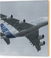 A380 Airbus In Flight Wood Print