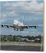 A380 Airbus Plane Landing Wood Print