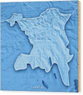 Aargau Canton Switzerland 3d Render Topographic Map Blue Border Wood Print