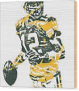 Aaron Rodgers Green Bay Packers Pixel Art 15 Wood Print