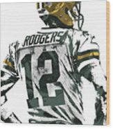 Aaron Rodgers Green Bay Packers Pixel Art 5 Wood Print
