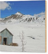 Abandon Building Alaskan Mountains Wood Print