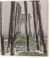 Abandon Pier Thru The Fog Wood Print