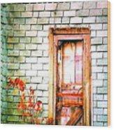 Abandonded Farm Door Wood Print