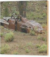 Abandoned Antique Car Wood Print